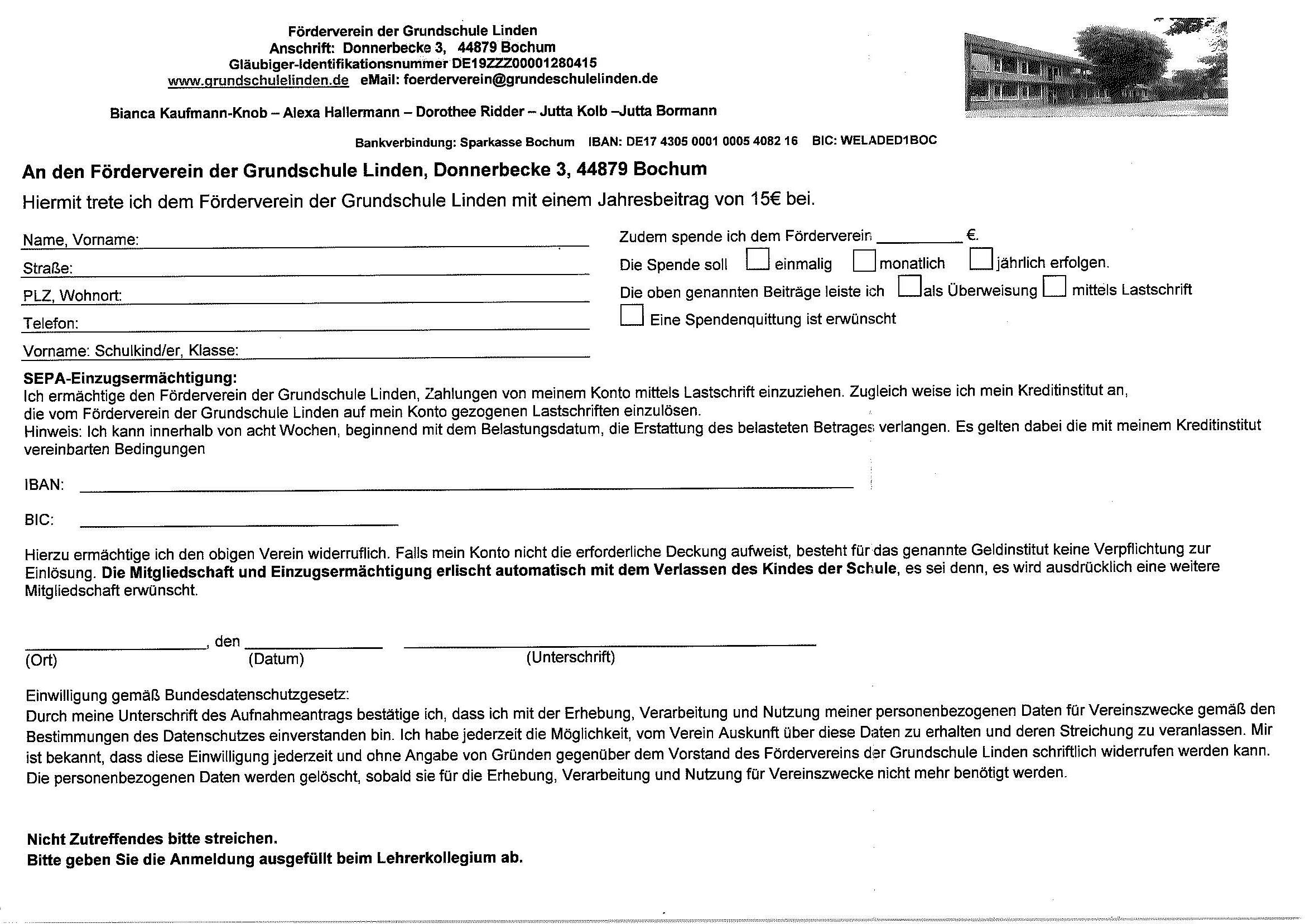Förderverein Aufnahmeantrag Mitgliedschaft